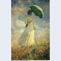 Woman with a parasol facing right also known as study of a figure outdoors facing right