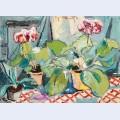 Pots with pelargoniums