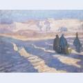 Three egyptian women walk outdoors