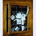 A trompe l oeil of an open glazed cupboard door with numerous papers and objects
