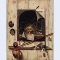 Trompe l oeil with studio wall and vanitas still life
