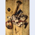 Trompe l oeil with violin painter s implements and self portrait