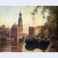 The flowermarket on the singel amsterdam with the munttoren beyond