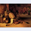 An interior scene with pots barrels baskets onions and cabbages with boors carousing in the