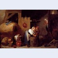 Interior scene with a young woman scrubbing pots while an old man makes advances