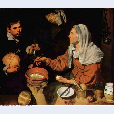 An old woman cooking eggs 1618