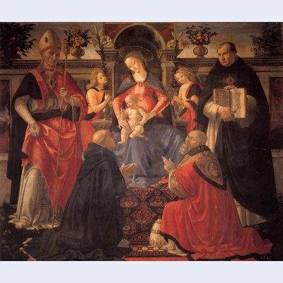 Madonna and child enthroned with st dionysius aeropagita domenic clement and thomas aquinas