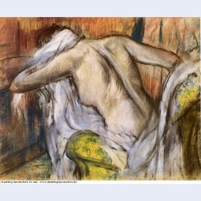 After bathing woman drying herself 1892