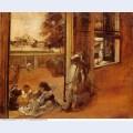 Children on a doorstep 1872