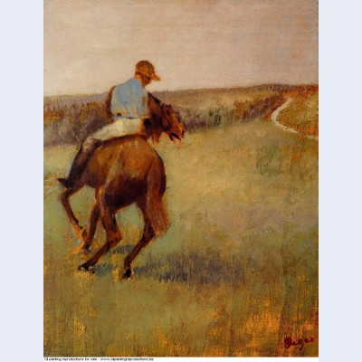 Jockey in blue on a chestnut horse