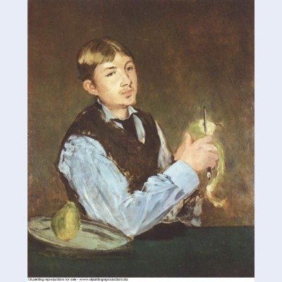 A young man peeling a pear portrait of leon leenhoff 1868