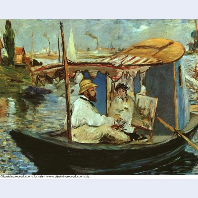 Monet in his floating studio 1874