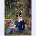 Young woman in the garden 1880