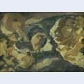 Poseidon farer over havet omgivet af nereider og tritoner