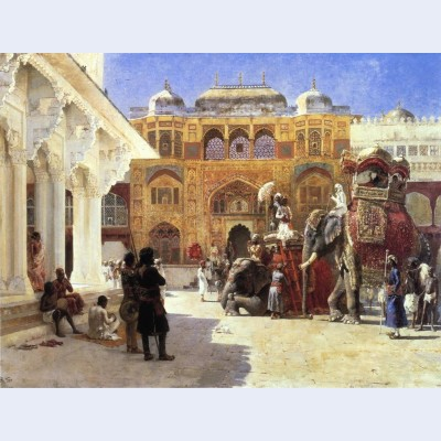 Arrival of prince humbert the rahaj at the palace of amber