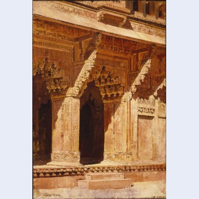 Curiously wrought red sandstone arches fort agra india