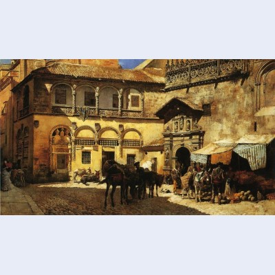 Market square in front of the sacristy and doorway of the cathedral granada