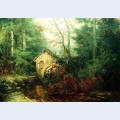 Forest landscape with watermill