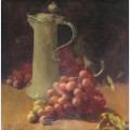 Still life with grapes pewter flagon