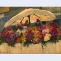 Flower markets with white umbrella