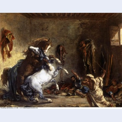 Arab horses fighting in a stable 1860 1