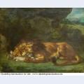 Lion devouring a rabbit 1856 1