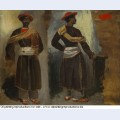 Two views of a standing indian from calcutta 1824 1