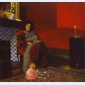 Interior red room with woman and child
