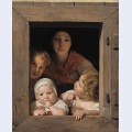 Young peasant woman with three children at the window