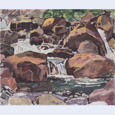 Mountain stream near champery