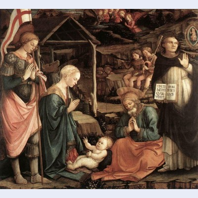 Adoration of the child with saints 2