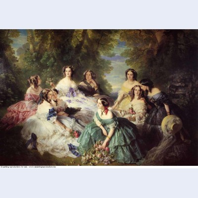 Empress eugenie surrounded by her ladies in waiting 1855