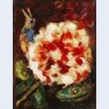 Blume mit vogel und echsenkopf
