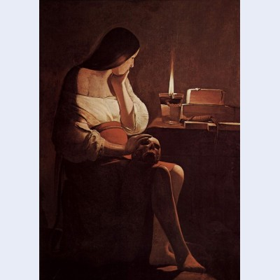 Mary magdalene with a night light