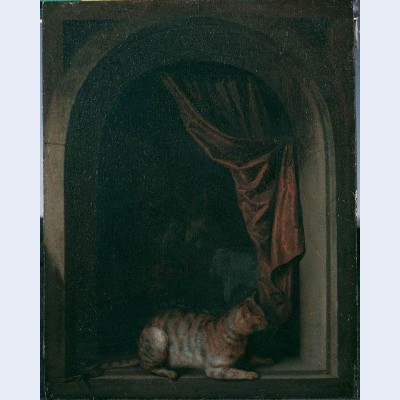 A cat at the window of a painters studios
