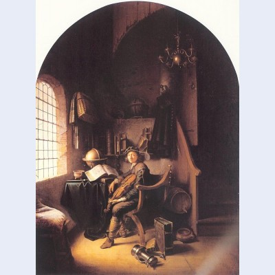 Interior with a young violinist