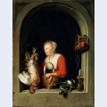 The dutch housewife or the woman hanging a cockerel in the window