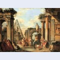 A capriccio of classical ruins with diogenes throwing away his cup
