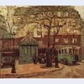 Greenish bus in street of paris