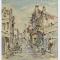 District street scene with figures buildings donkey cart