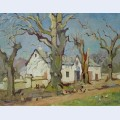 Farmhouse with bare oaks