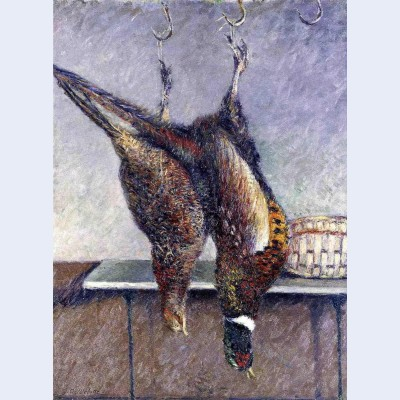 Two hanging pheasants