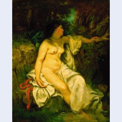 Bather sleeping by a brook