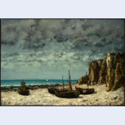 Boats on a beach etretat