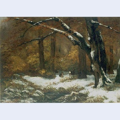 Deer s shelter in winter
