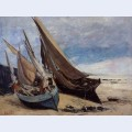Fishing boats on the deauville beach
