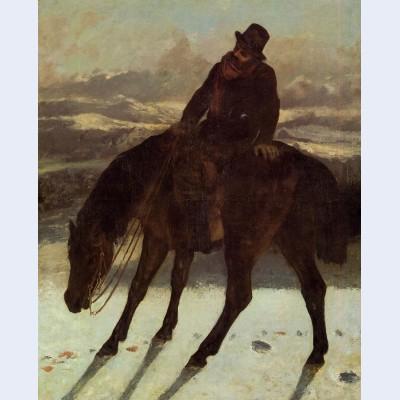Hunter on horseback redcovering the trail