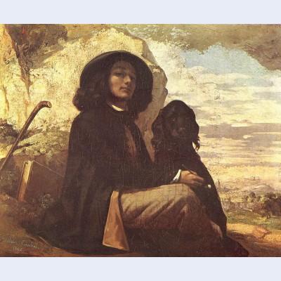Self portrait with a black dog