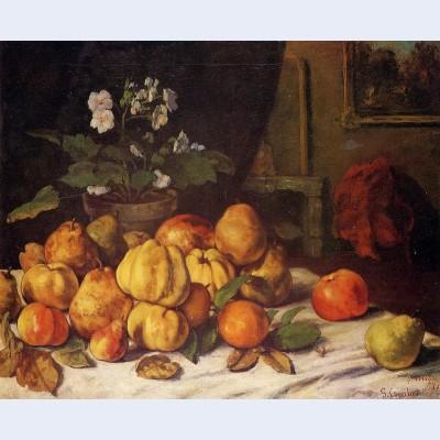 Still life apples pears and flowers on a table saint pelagie