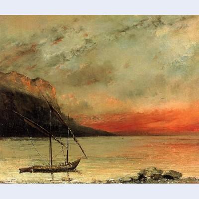 Sunset over lake leman